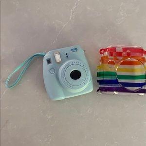 Instax Other - Turquoise Polaroid film camera w/ rainbow case 🌈